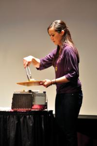 Tyler Stauffer photo: Celebrity chef Domenica Catelli demonstrated making a one-dish meal to Mercyhurst students in Taylor Little Theatre on Friday.